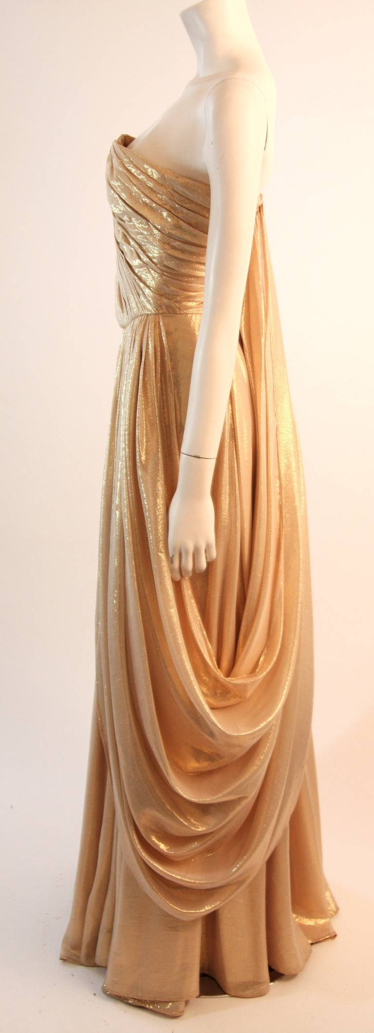 Women's Elizabeth Mason Couture Custom Draped Strapless Gold Lame Gown For Sale
