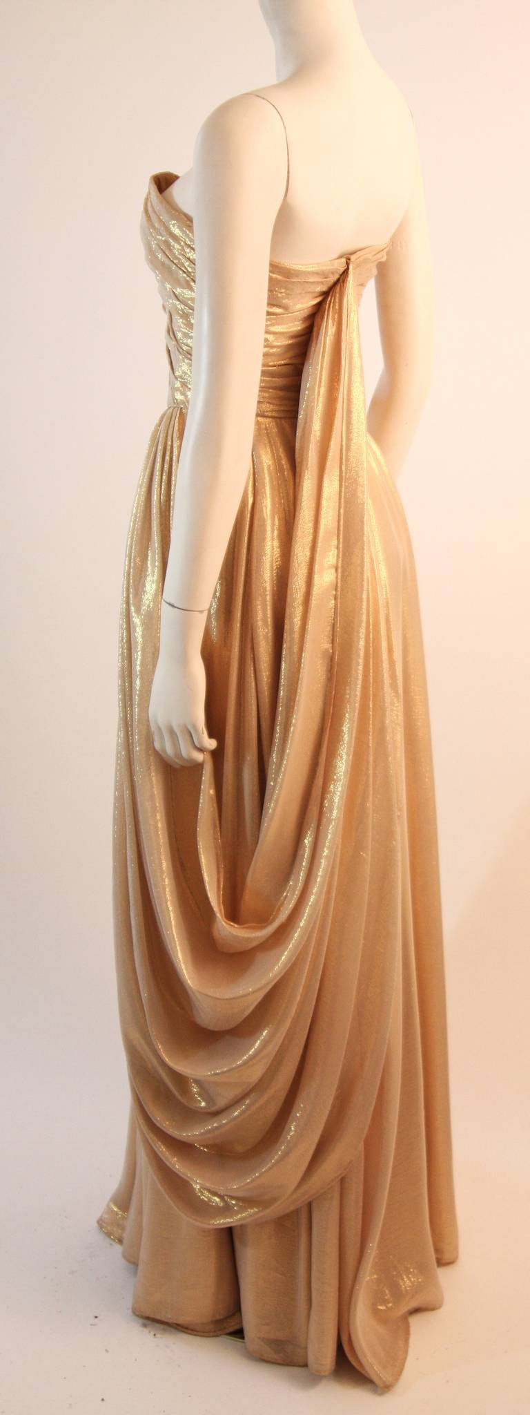 Elizabeth Mason Couture Custom Draped Strapless Gold Lame Gown For Sale 1