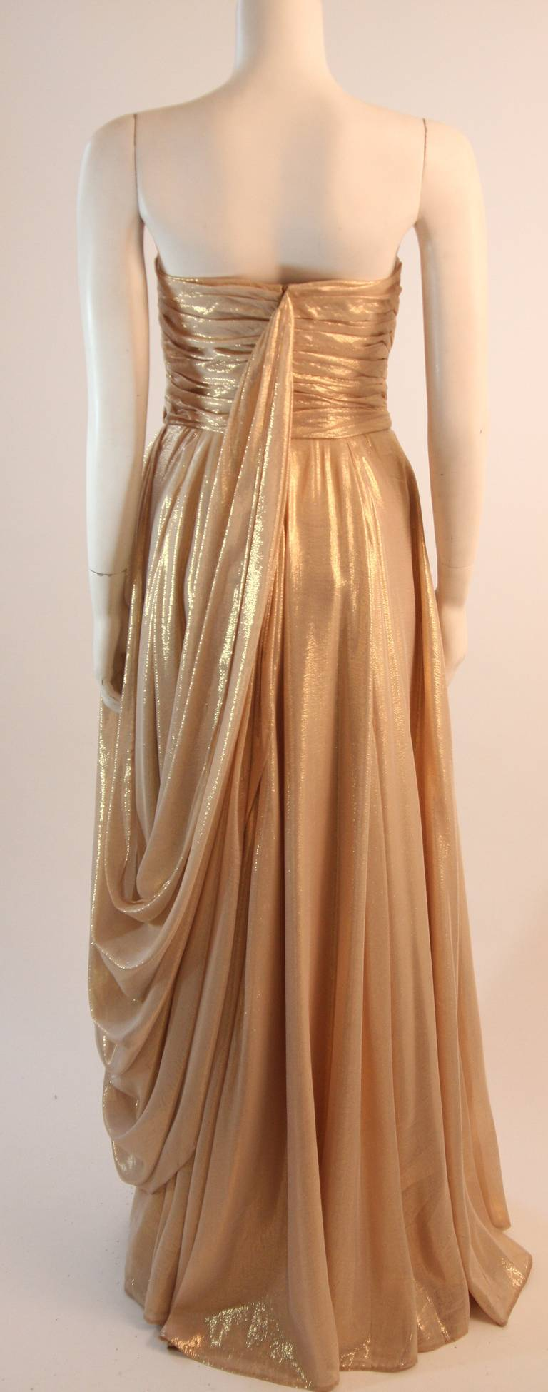 Elizabeth Mason Couture Custom Draped Strapless Gold Lame Gown For Sale 2