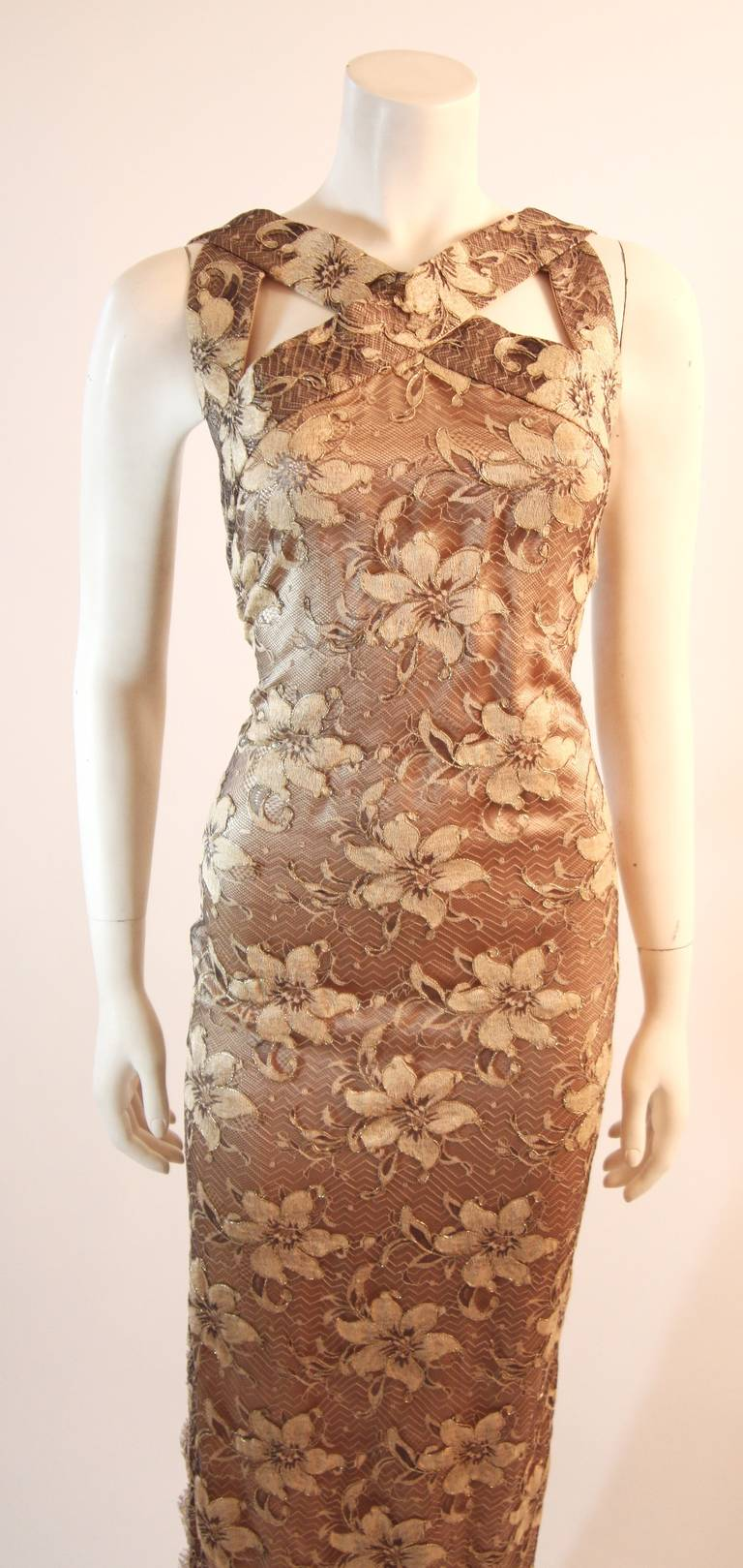 Brown Galanos Beautiful Silk and Lace Criss Cross Cocktail Gown For Sale