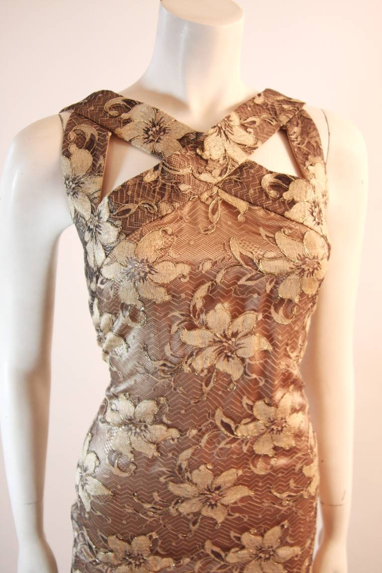 Galanos Beautiful Silk and Lace Criss Cross Cocktail Gown In Excellent Condition For Sale In Los Angeles, CA