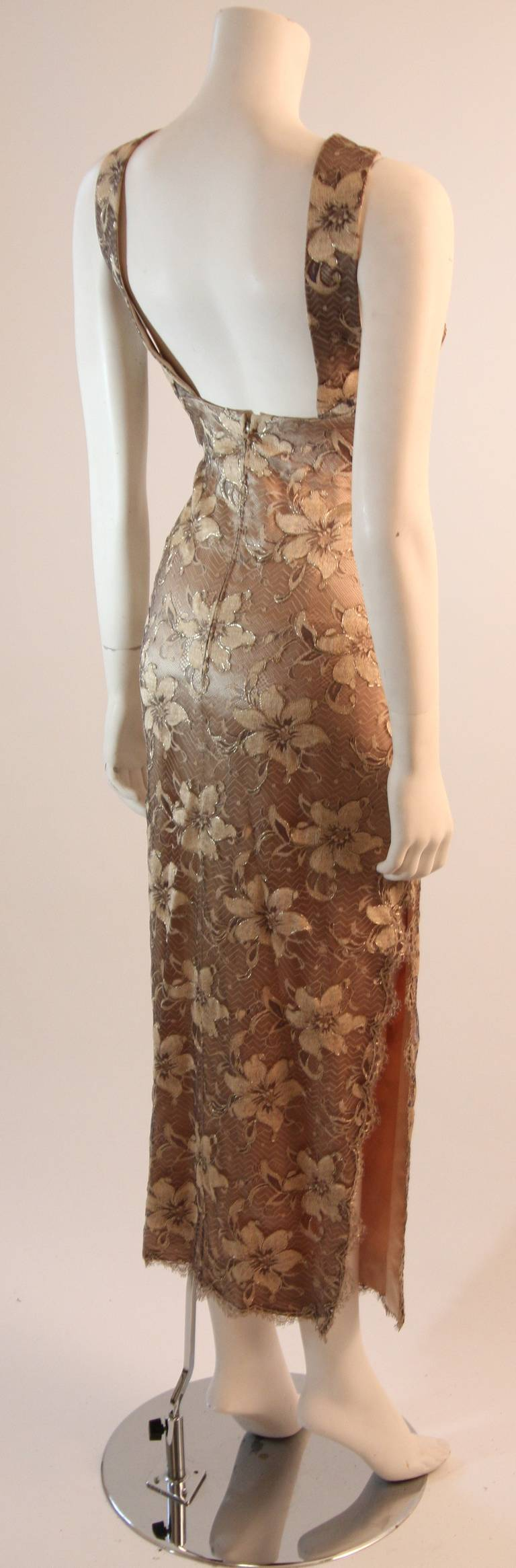 Galanos Beautiful Silk and Lace Criss Cross Cocktail Gown For Sale 1