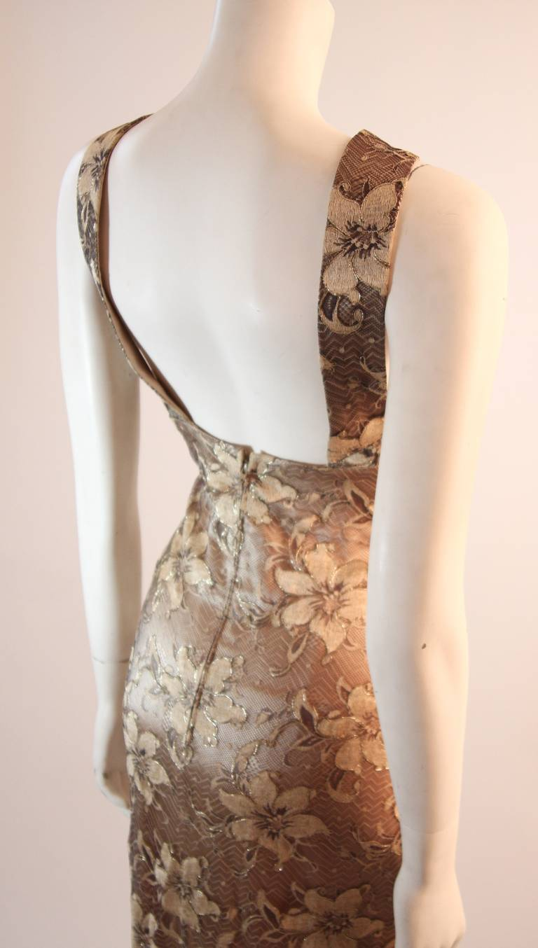 Galanos Beautiful Silk and Lace Criss Cross Cocktail Gown For Sale 2