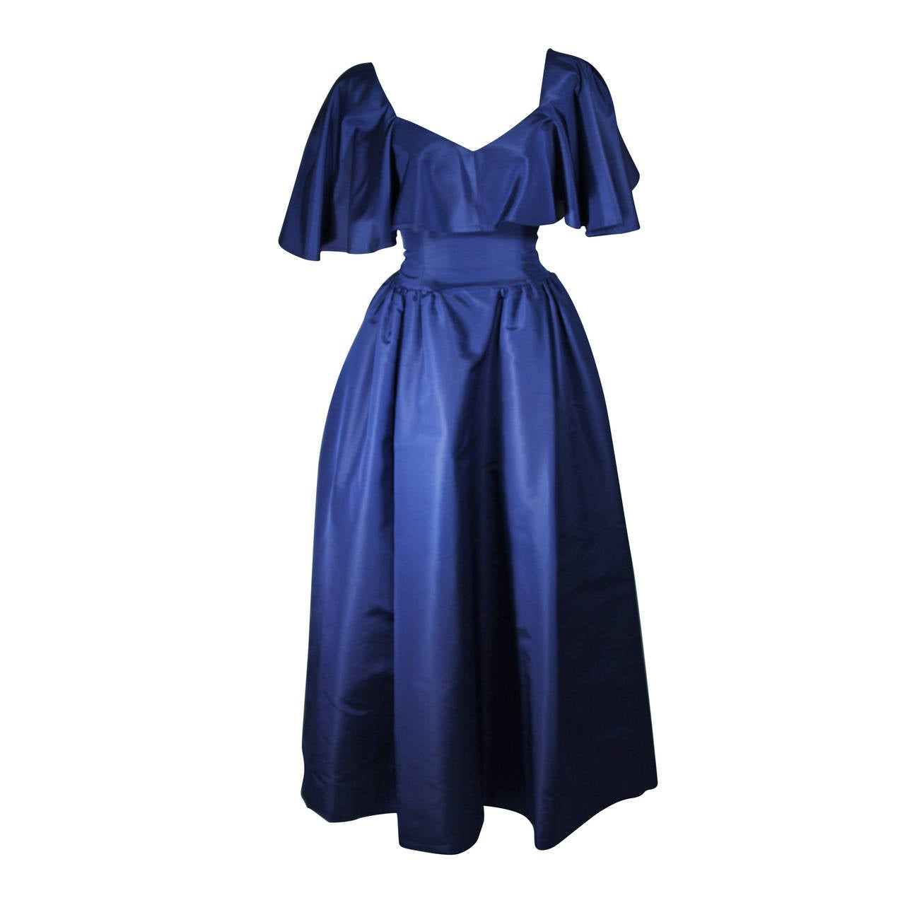 Circa 1980s Pauline Trigere Midnight Blue Faille Ball Gown with Cape Collar 6 1