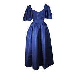 Circa 1980s Pauline Trigere Midnight Blue Faille Ball Gown with Cape Collar 6