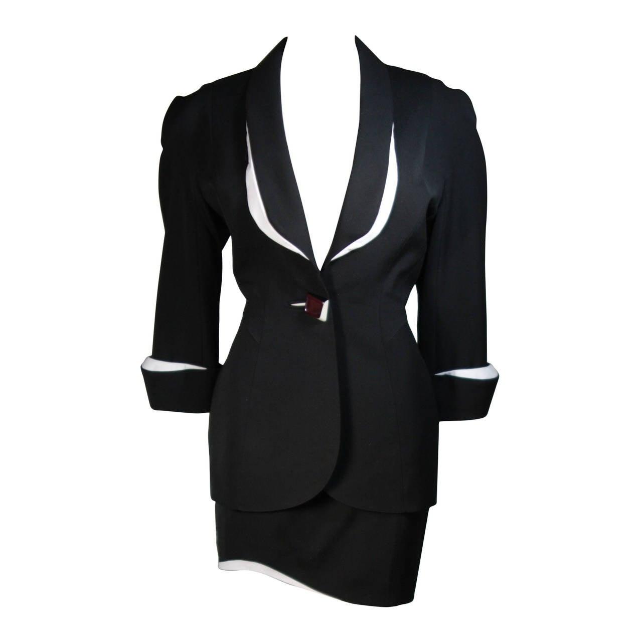 Thierry Mugler Black & White Skirt Suit w.Three Dimensional Lapel & Cuff detail