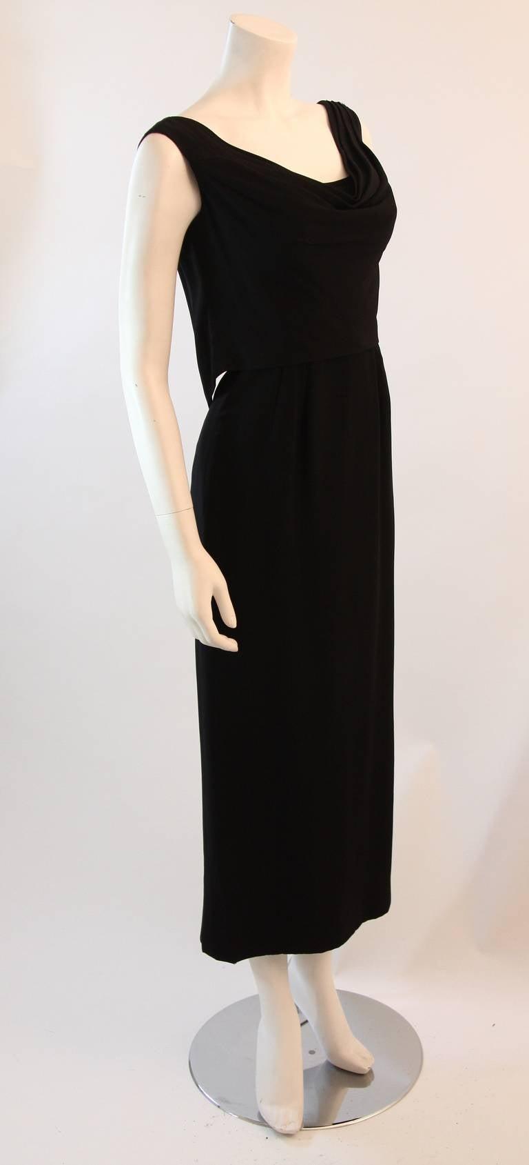 Dorothy O'Hara Black Silk Crepe Gown with Drape front split back design 5