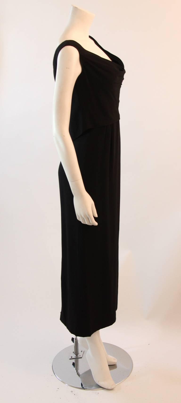 Dorothy O'Hara Black Silk Crepe Gown with Drape front split back design 6