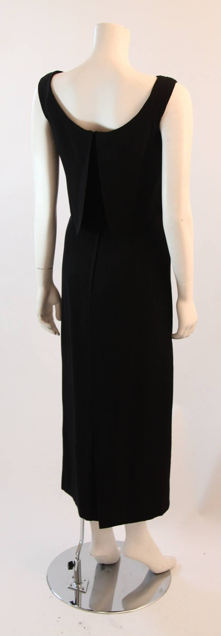 Dorothy O'Hara Black Silk Crepe Gown with Drape front split back design 7