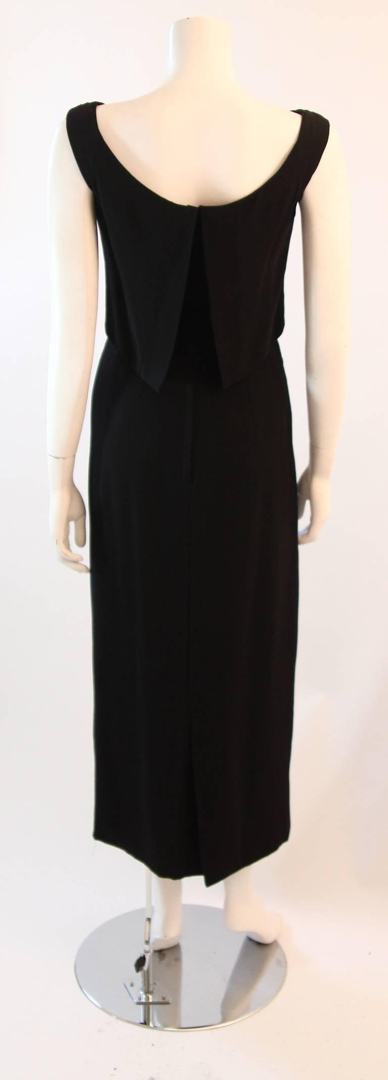 Dorothy O'Hara Black Silk Crepe Gown with Drape front split back design 9