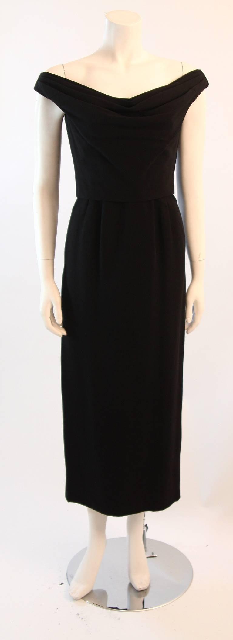 Dorothy O'Hara Black Silk Crepe Gown with Drape front split back design 2