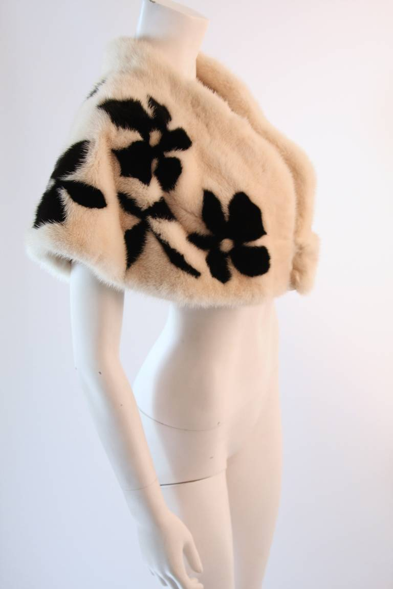 Bergdorf Goodman White with Black Flowers Winter Mink ...