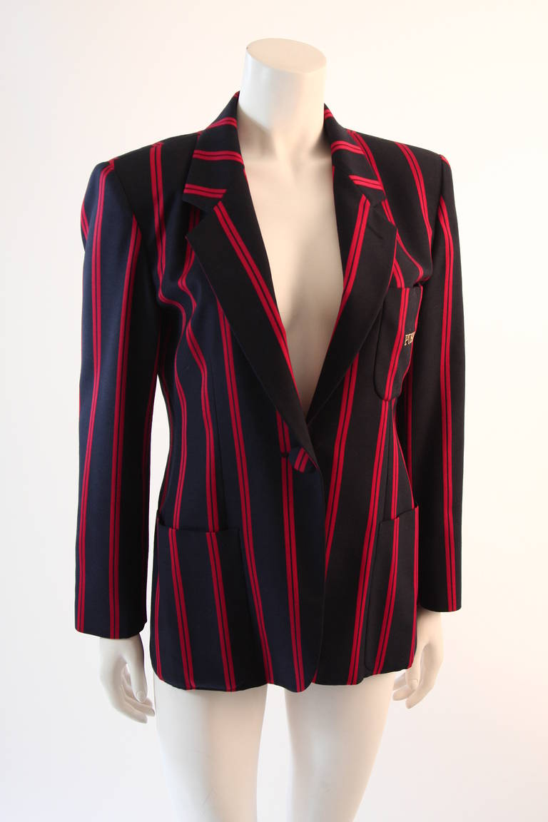 "1990s Moschino Couture Navy & Red Striped wool Carnival Jacket ""Push"" pocket 3"