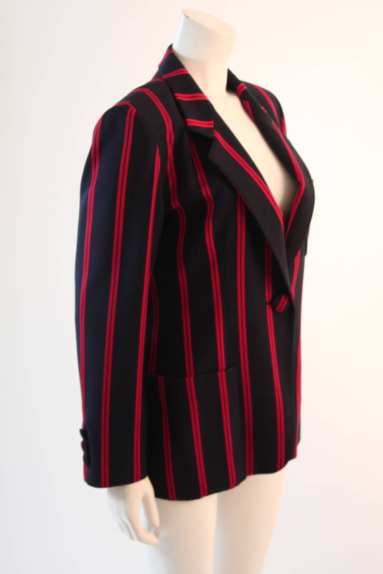 "1990s Moschino Couture Navy & Red Striped wool Carnival Jacket ""Push"" pocket In Excellent Condition For Sale In Los Angeles, CA"