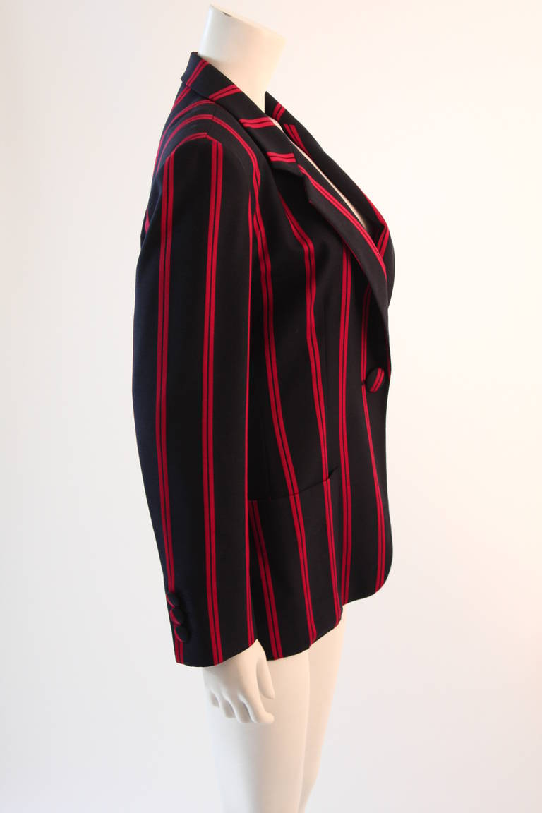 "1990s Moschino Couture Navy & Red Striped wool Carnival Jacket ""Push"" pocket 5"