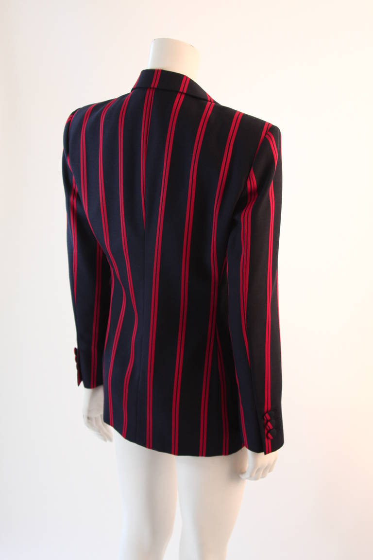 "1990s Moschino Couture Navy & Red Striped wool Carnival Jacket ""Push"" pocket For Sale 1"