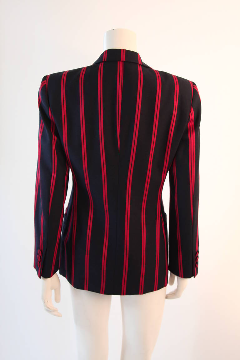 "1990s Moschino Couture Navy & Red Striped wool Carnival Jacket ""Push"" pocket For Sale 2"