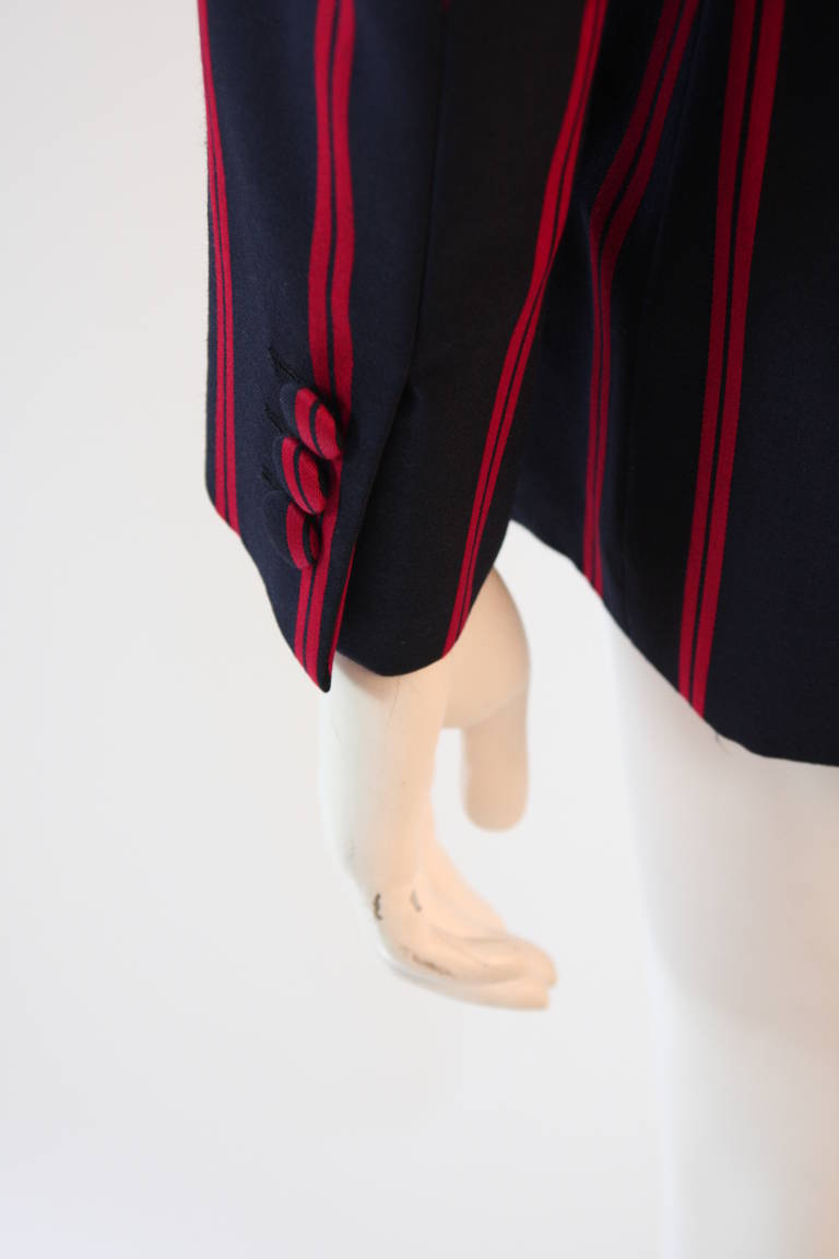 "1990s Moschino Couture Navy & Red Striped wool Carnival Jacket ""Push"" pocket 9"