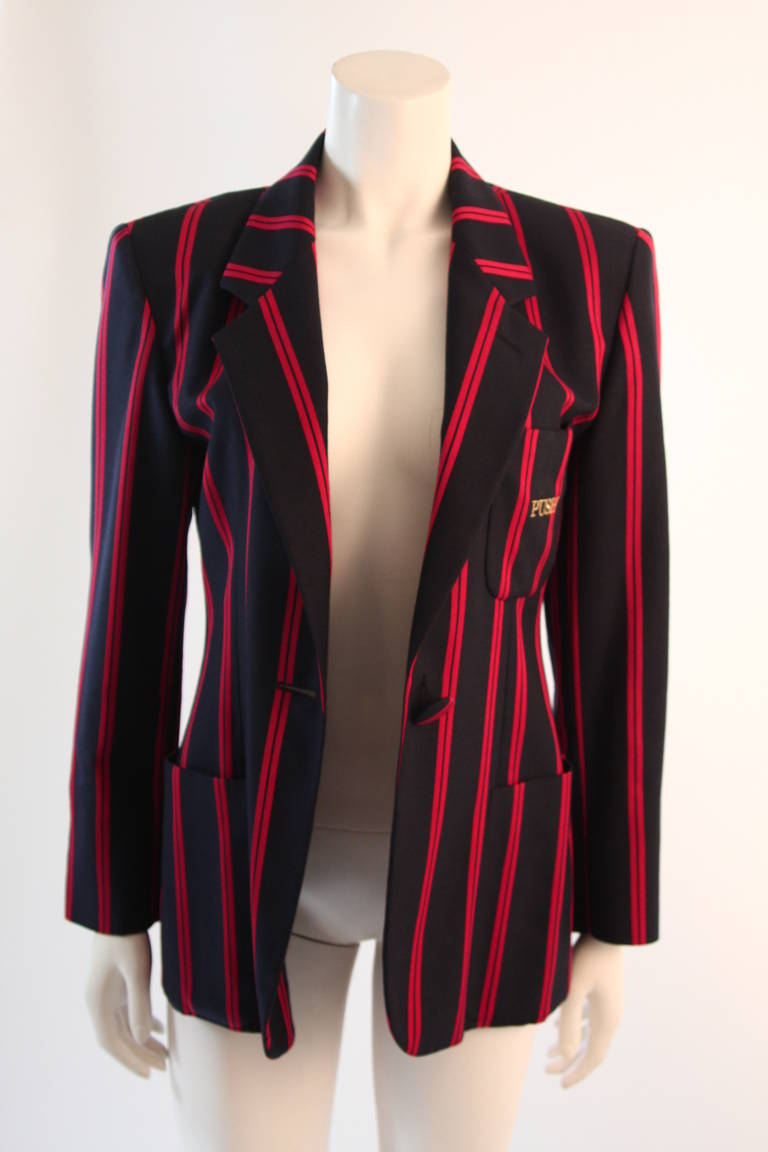 "1990s Moschino Couture Navy & Red Striped wool Carnival Jacket ""Push"" pocket For Sale 3"