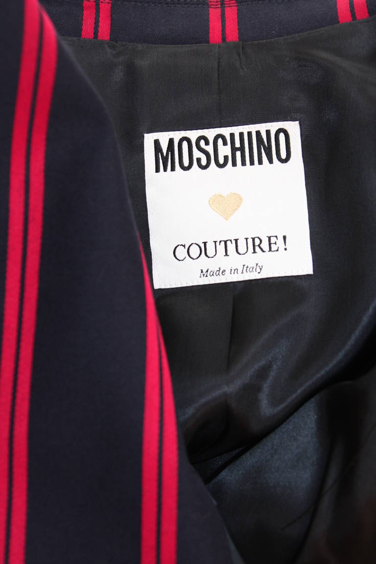 "1990s Moschino Couture Navy & Red Striped wool Carnival Jacket ""Push"" pocket For Sale 5"