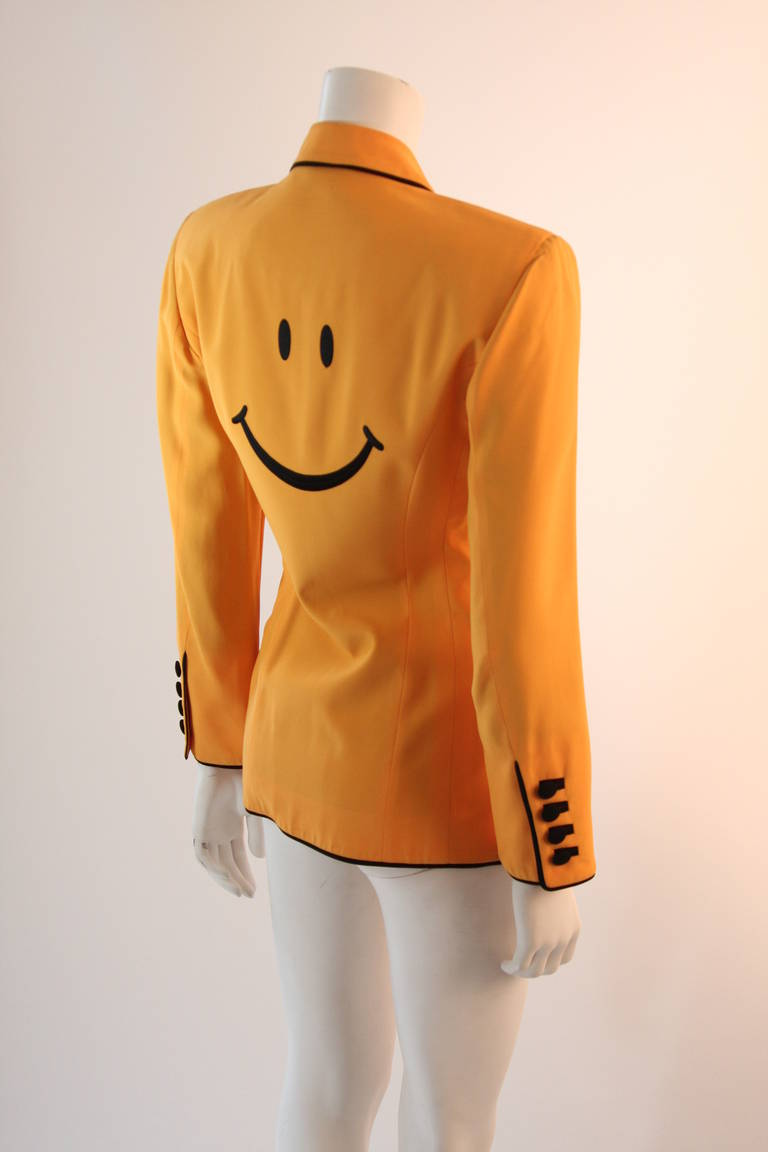 Stellar Moschino Large Smiley Face Blazer For Sale 4
