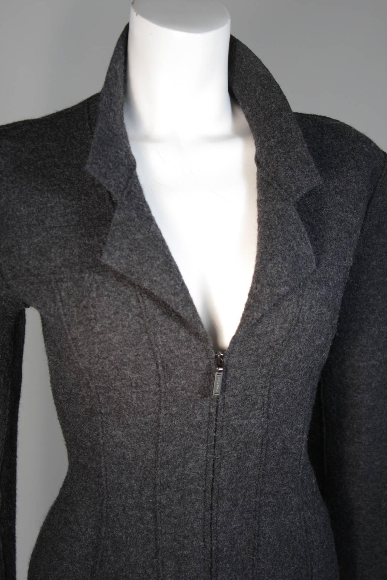Black Chanel Grey Boiled Wool Zipper Front Jacket Size 38 For Sale