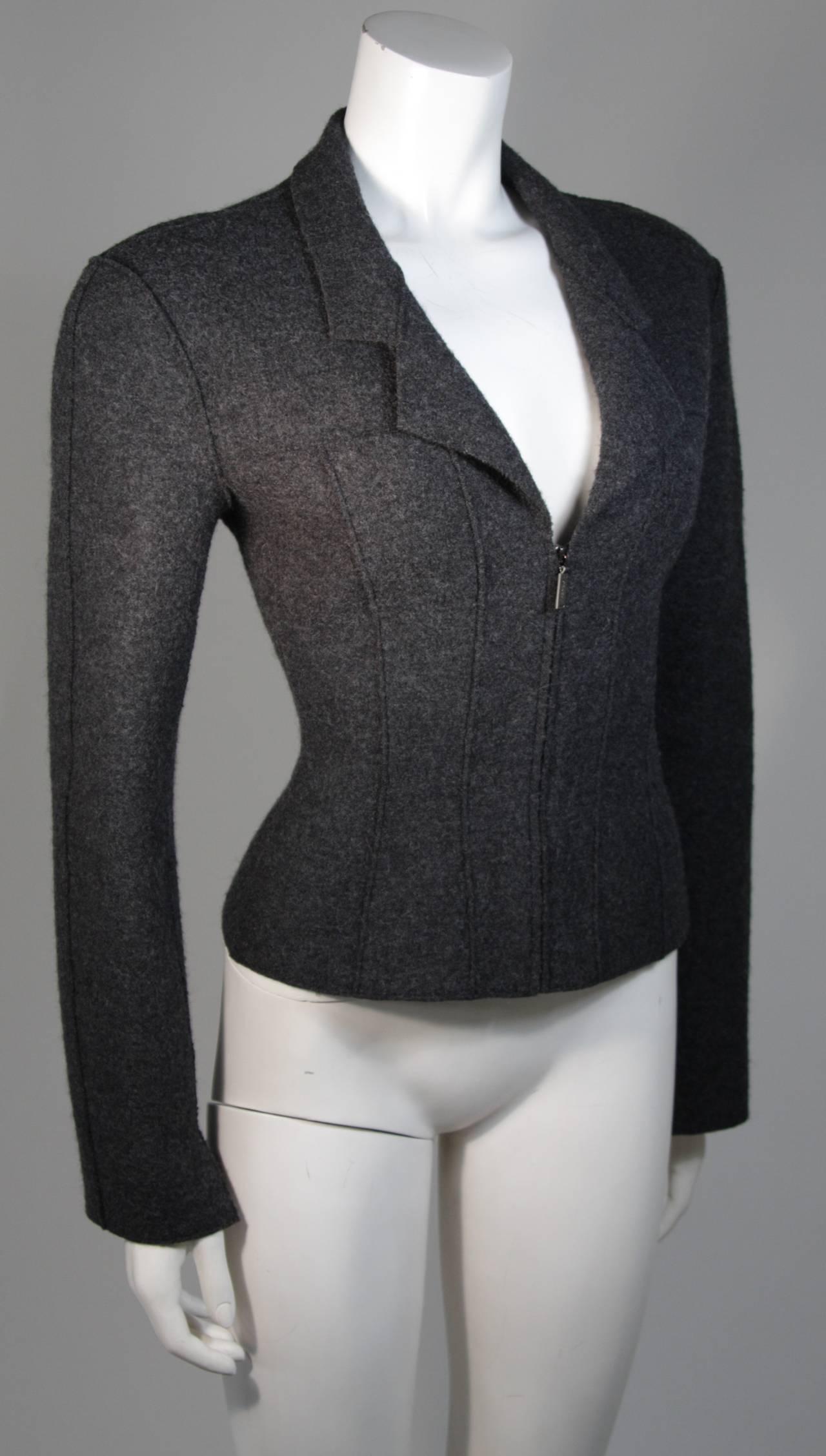 Women's Chanel Grey Boiled Wool Zipper Front Jacket Size 38 For Sale