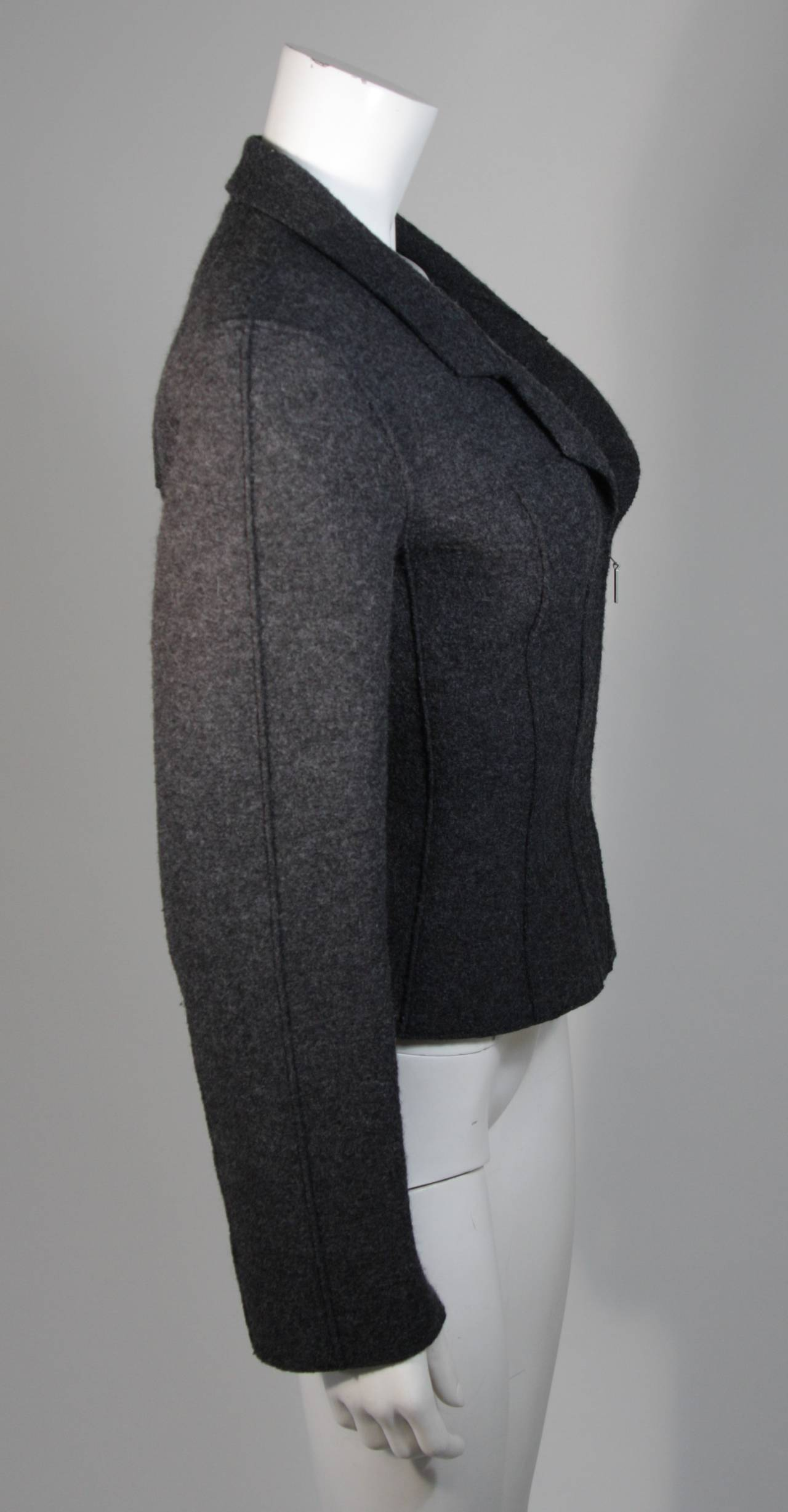 Chanel Grey Boiled Wool Zipper Front Jacket Size 38 For Sale 1