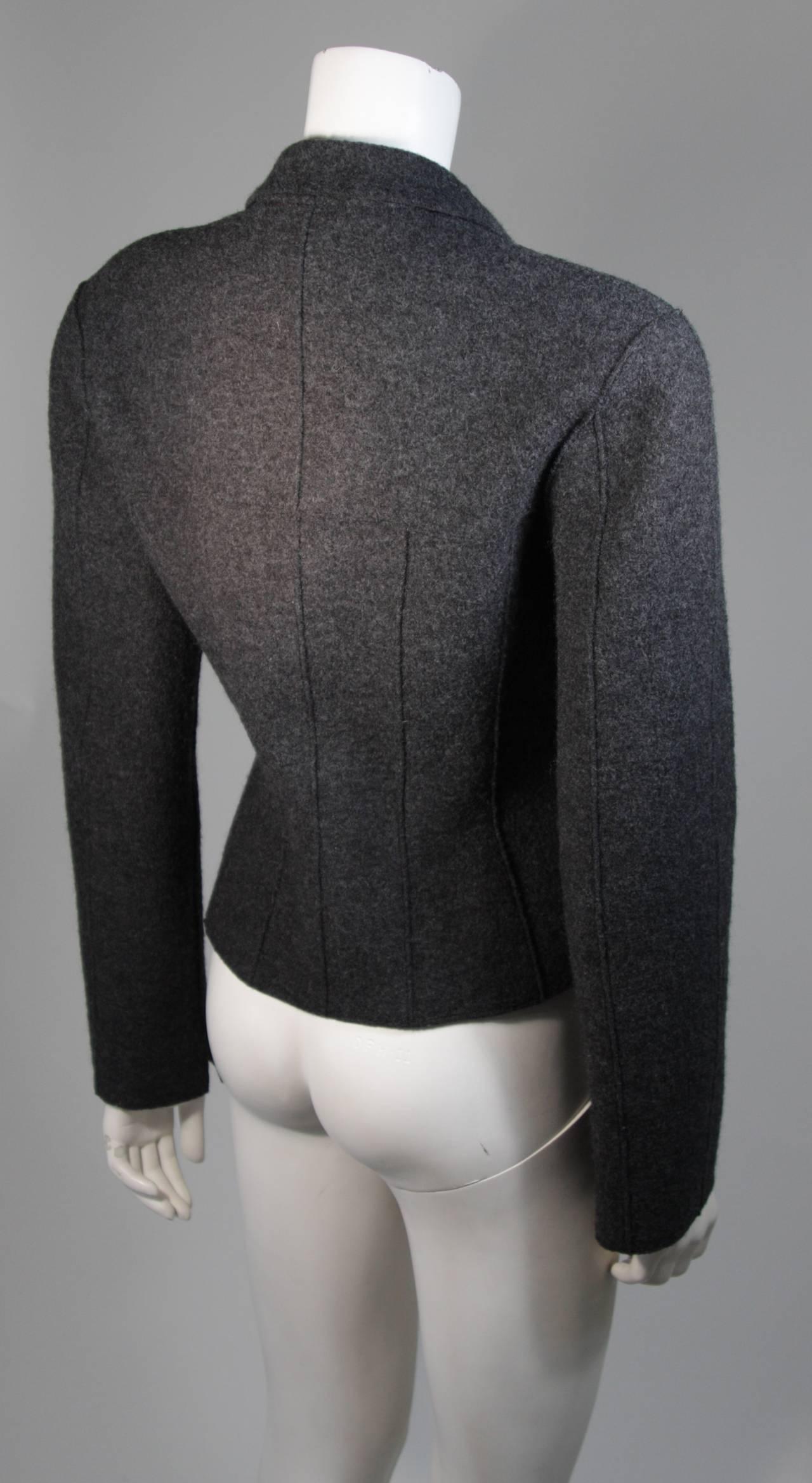 Chanel Grey Boiled Wool Zipper Front Jacket Size 38 For Sale 2