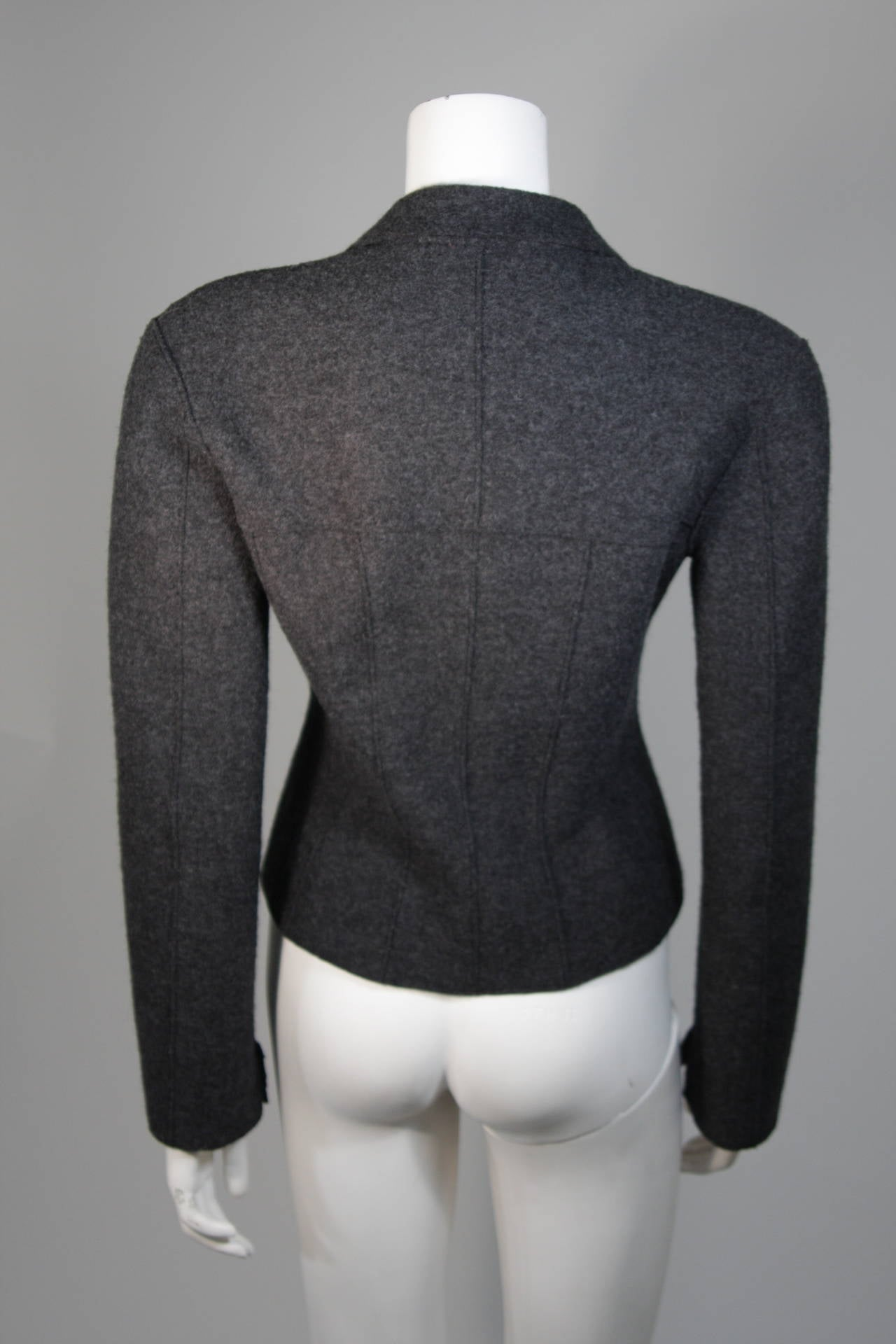 Chanel Grey Boiled Wool Zipper Front Jacket Size 38 For Sale 3