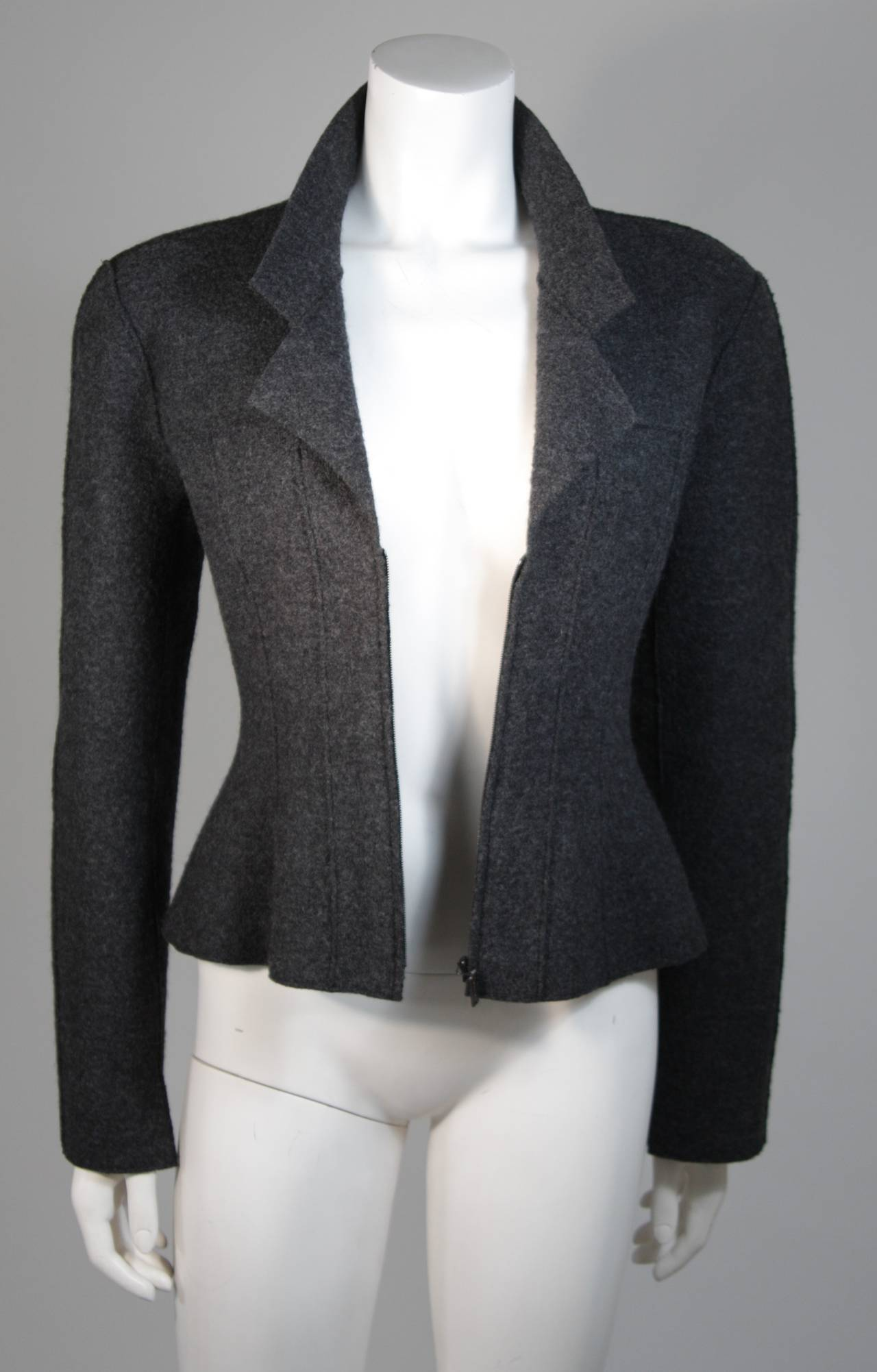 Chanel Grey Boiled Wool Zipper Front Jacket Size 38 For Sale 4