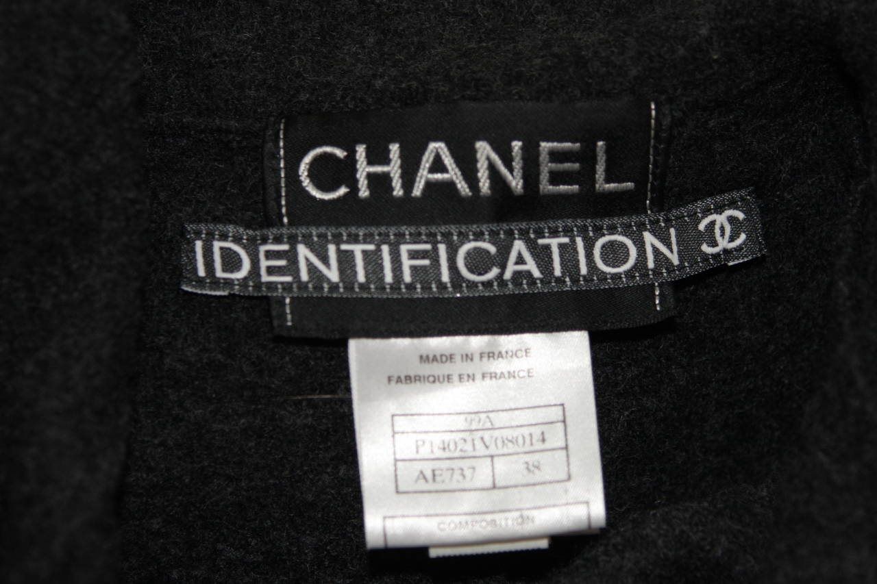 Chanel Grey Boiled Wool Zipper Front Jacket Size 38 For Sale 5
