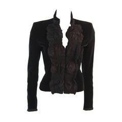 Yves Saint Laurent Black Velvet Jacket with Ruched Neckline