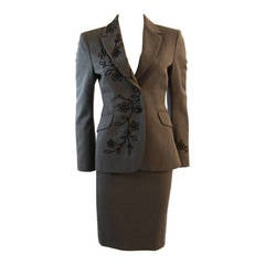 Moschino Cheap and Chic Wool Skirt Suit with Lady Bug Floral Motif  Size 4