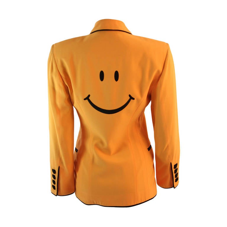 Stellar Moschino Large Smiley Face Blazer For Sale
