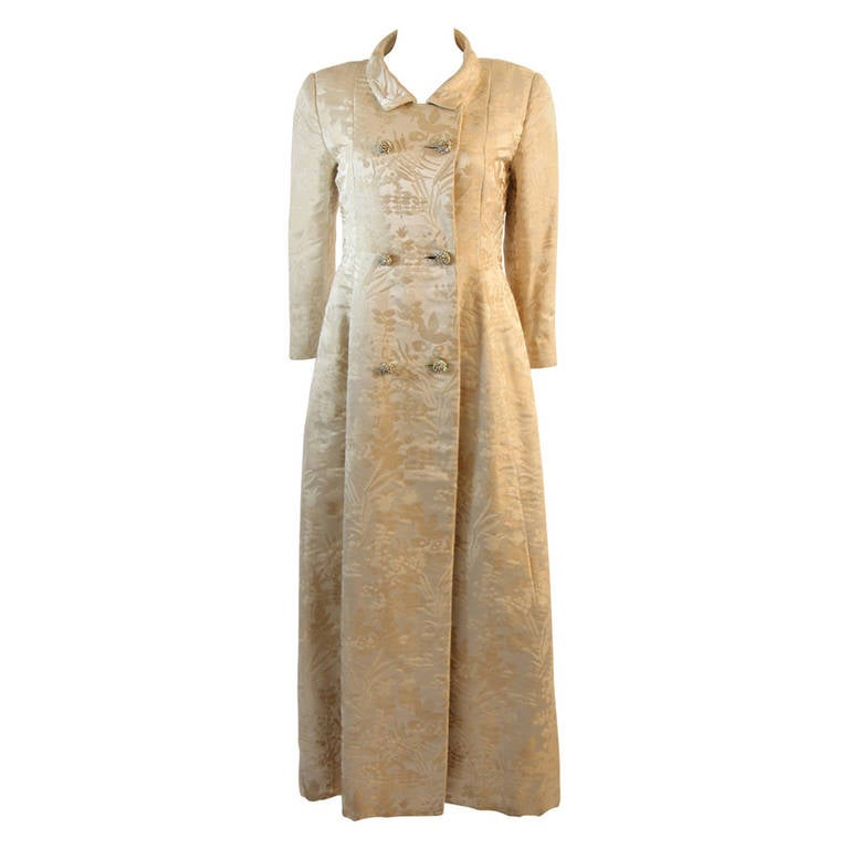 Ben Zuckerman Two Piece Cream with Silver Brocade Coat & Gown