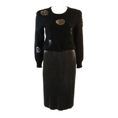 Krizia Maglia Angora Sweater with Lace Inset and Metallic Skirt