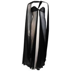 Jacqueline De Ribes Black and Ivory Silk Chiffon Gown Size
