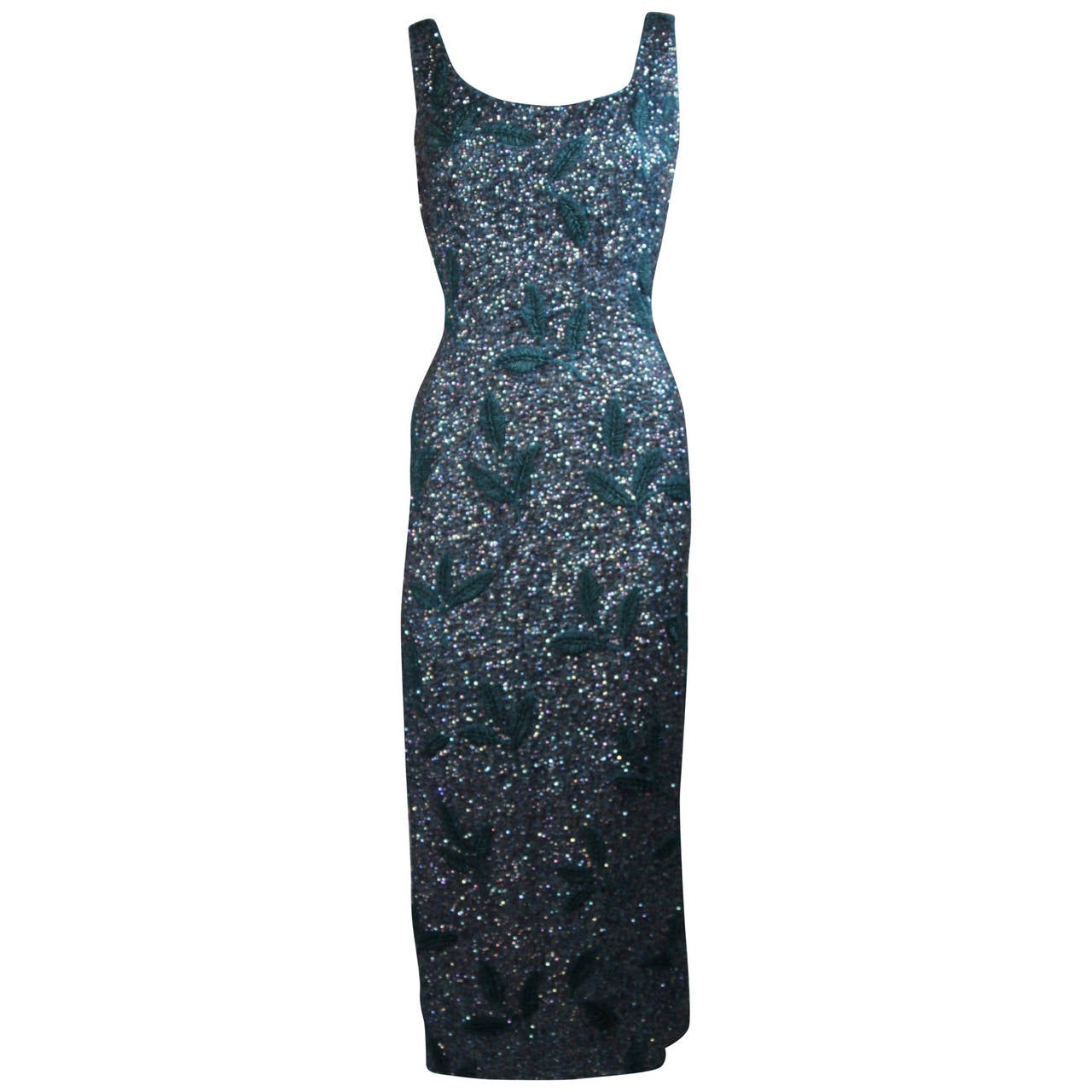 Custom 1960's Sapphire Blue Beaded Gown with Sequins Size Small Medium