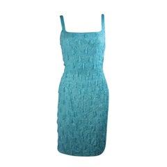 1960's Heavily Beaded Aqua Cocktail Dress Size Medium