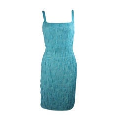 1960's Heavily Beaded Aqua Cocktail Dress Size Medium