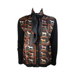 Hermes Black Checkerboard Racehorse Print Silk & Wool Cardigan Sweater 46