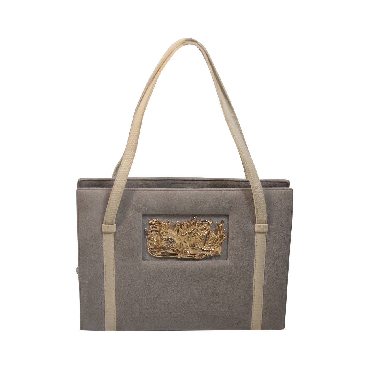 Shop gray suede tote bag at Neiman Marcus, where you will find free shipping on the latest in fashion from top designers.