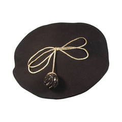 Yves Saint Laurent Rive Gauche Black Beret with Knit Ball