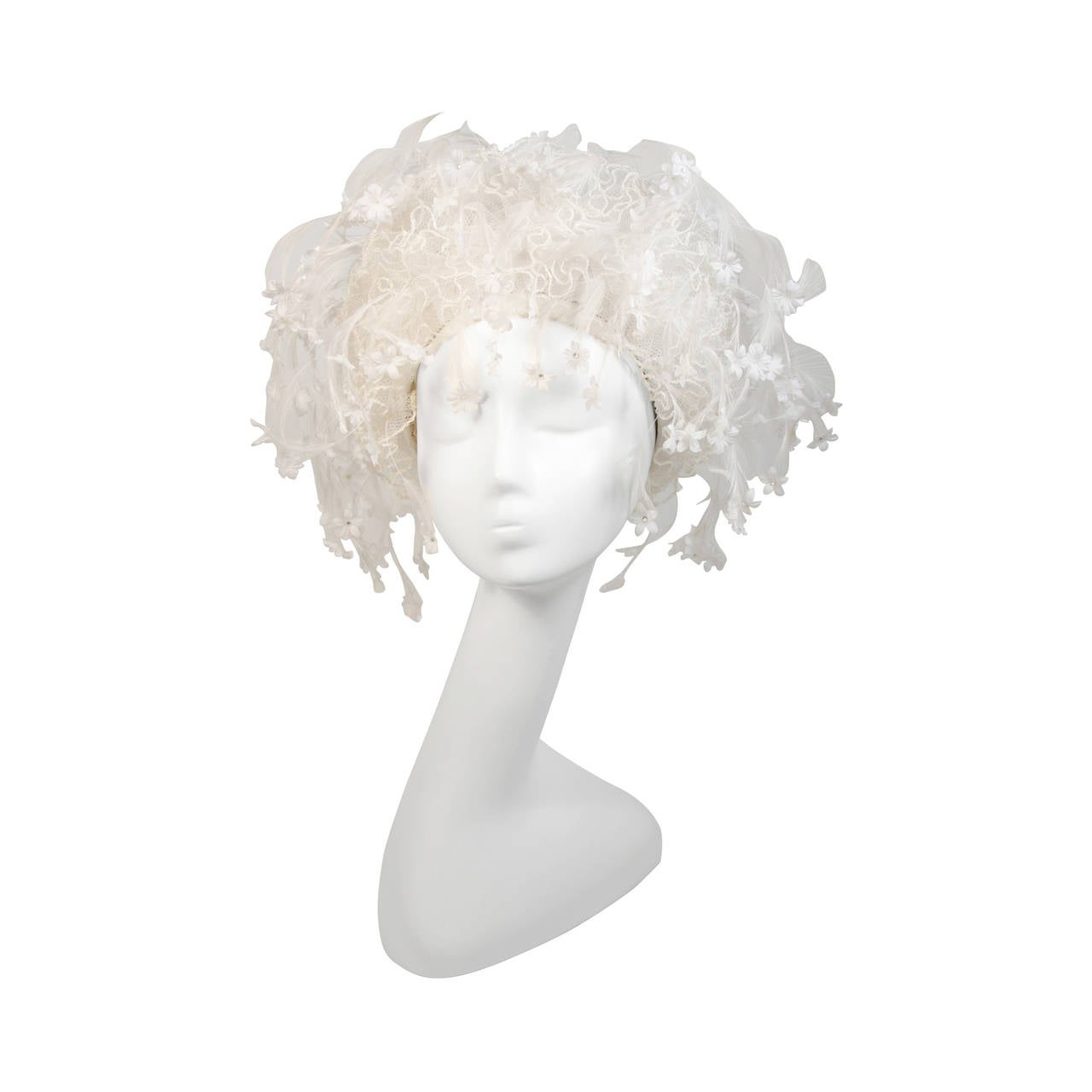 Jack McConnell White Floral and Feather Hat with Rhinestones