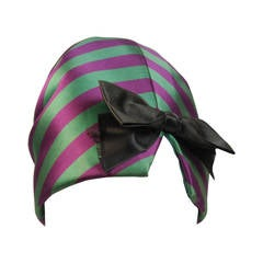 Yves Saint Laurent Rive Gauche Purple and Green Silk Rouched Hat with Bow