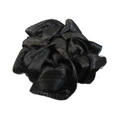 Maria Pia Rome Black Bouffant Curl Hat with Ribbon and Net