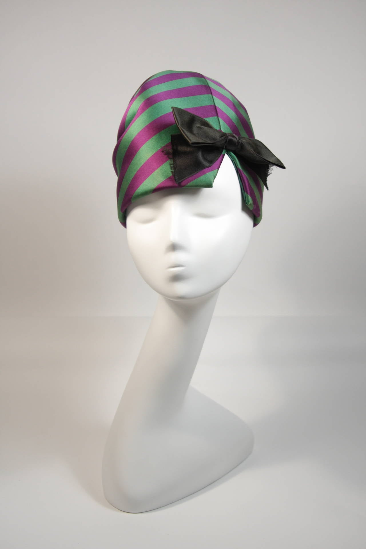 Yves Saint Laurent Rive Gauche Purple and Green Silk Rouched Hat with Bow 2