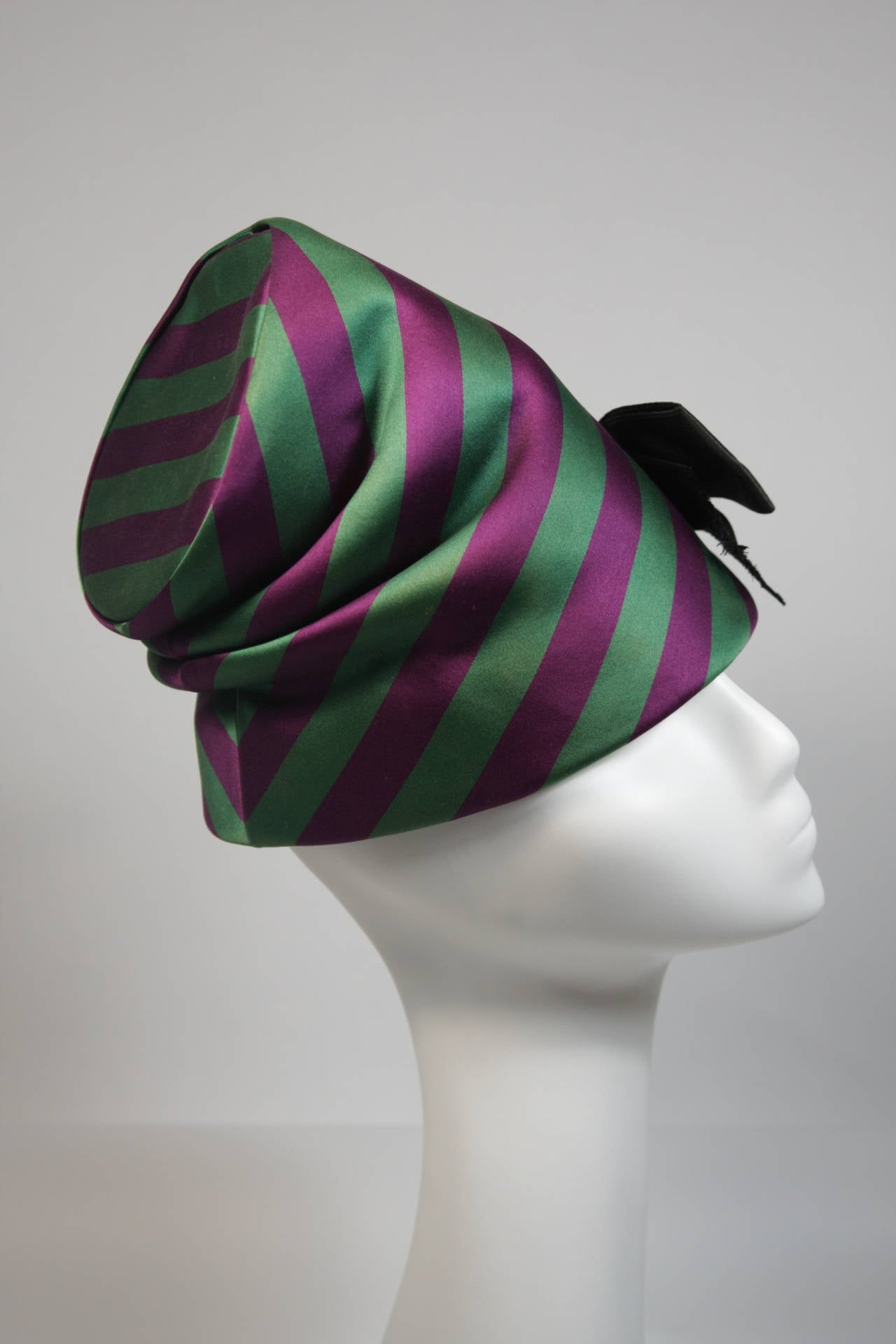 Yves Saint Laurent Rive Gauche Purple and Green Silk Rouched Hat with Bow 7