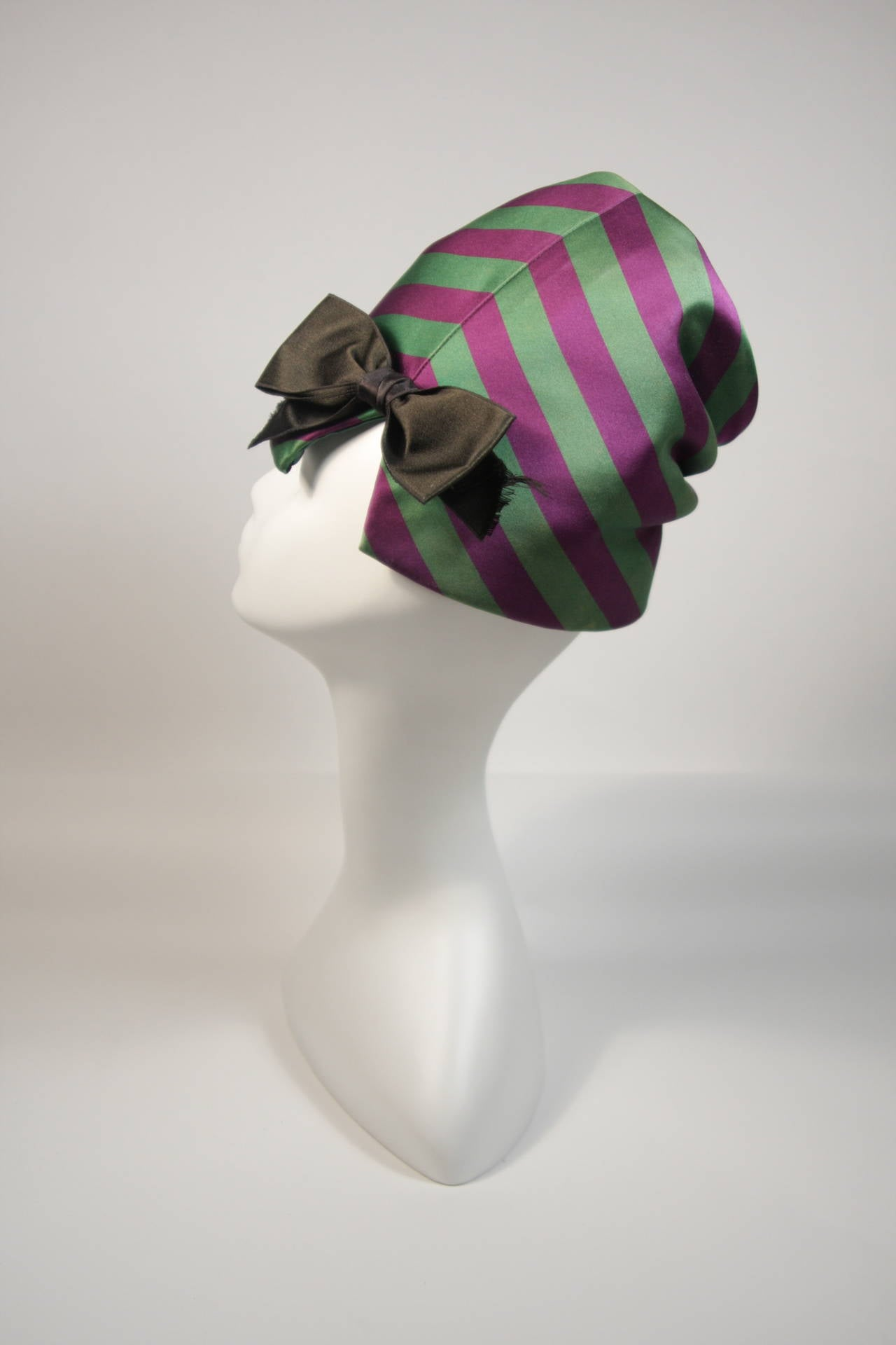 Yves Saint Laurent Rive Gauche Purple and Green Silk Rouched Hat with Bow 6